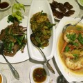 Udang gala, veggie and duck