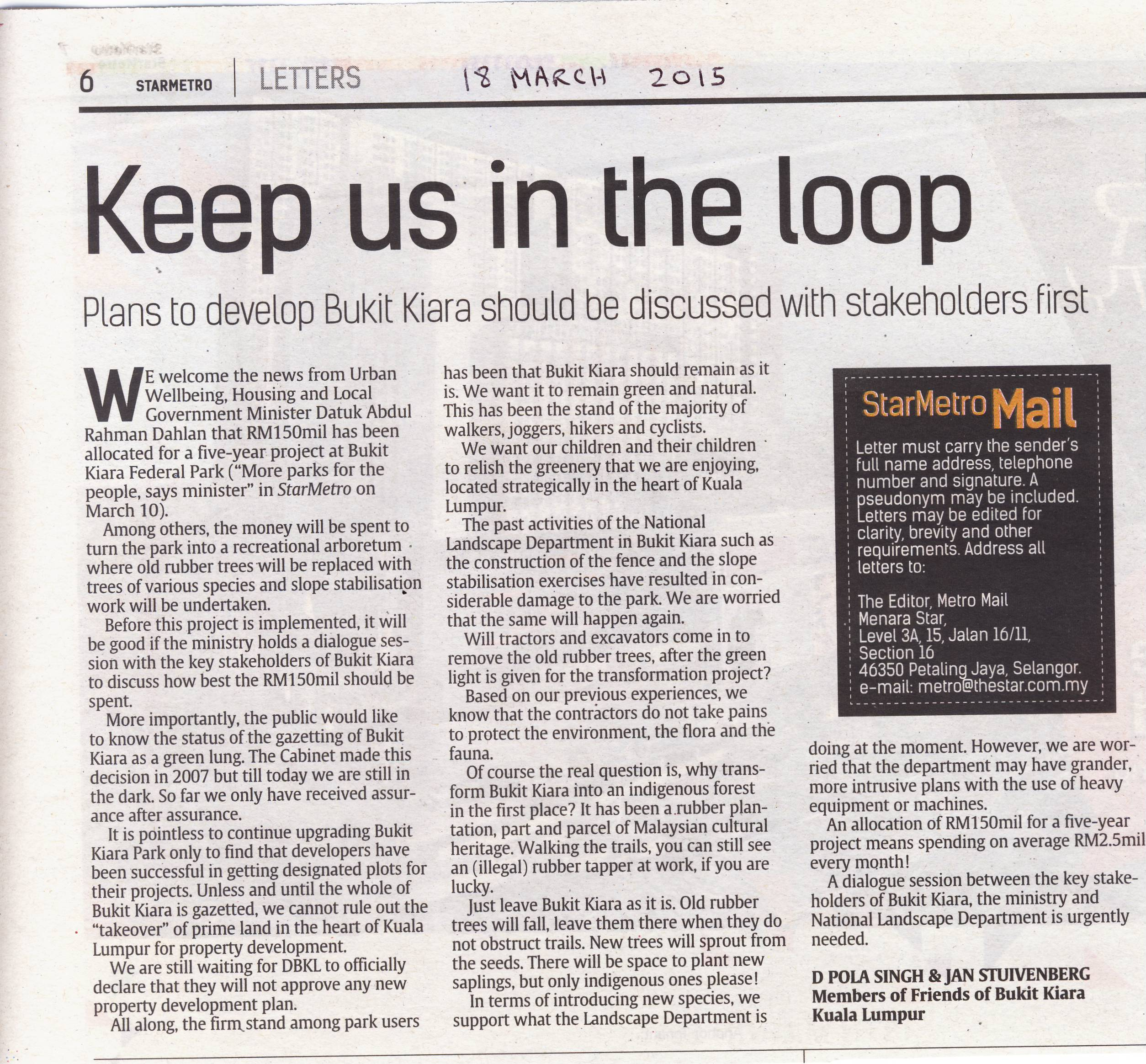 Upgrade of Bukit Kiara - Keep us in the Loop, Metro Star 18 March 2015