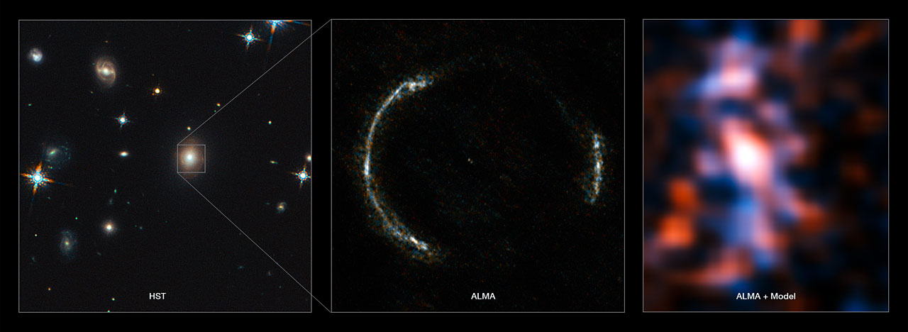 Montage of the SDP.81 Einstein Ring and the lensed galaxy