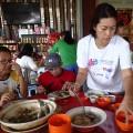 Distributing the soup
